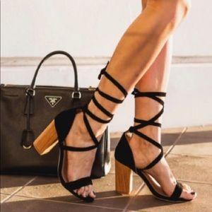 Revolve RAYE Layla Heel Straps Ankle Tie black